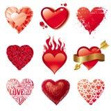 Corazones del amor de la tarjeta del día de San Valentín Fotos de archivo libres de regalías