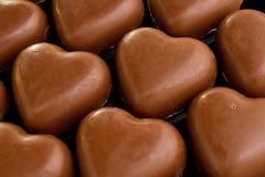 Corazones del amor del chocolate Imagen de archivo