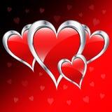 Corazones del amor del día de tarjeta del día de San Valentín Imagen de archivo