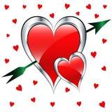 Corazones del amor del día de tarjeta del día de San Valentín con la flecha Fotografía de archivo