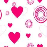 Corazones del amor dibujados El día de tarjeta del día de San Valentín de la postal Fotos de archivo libres de regalías