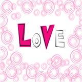 Corazones del amor dibujados El día de tarjeta del día de San Valentín de la postal Imagen de archivo libre de regalías