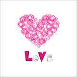 Corazones del amor dibujados El día de tarjeta del día de San Valentín de la postal Imagenes de archivo