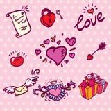 Corazones del amor fijados Fotografía de archivo