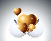 Corazones del amor y cáscara de huevo Imagenes de archivo