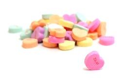 Corazones del caramelo de las tarjetas del día de San Valentín Fotografía de archivo