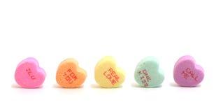 Corazones del caramelo de las tarjetas del día de San Valentín Foto de archivo libre de regalías