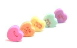 Corazones del caramelo de las tarjetas del día de San Valentín Imagen de archivo libre de regalías