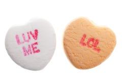 Corazones del caramelo del día de tarjeta del día de San Valentín Fotos de archivo