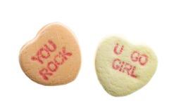 Corazones del caramelo del día de tarjeta del día de San Valentín Imagenes de archivo