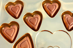 Corazones del chocolate Imágenes de archivo libres de regalías