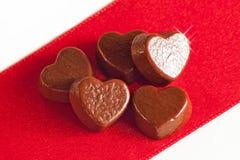 Corazones del chocolate Foto de archivo