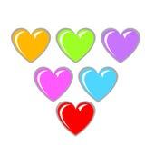Corazones del colorfull de la tarjeta del día de San Valentín aislados en blanco Foto de archivo libre de regalías
