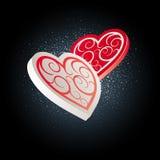 Corazones del día de tarjeta del día de San Valentín Foto de archivo