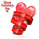 Corazones del día de tarjeta del día de San Valentín Imagen de archivo libre de regalías