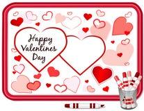 Corazones del día de tarjetas del día de San Valentín, Whiteboard Fotos de archivo libres de regalías