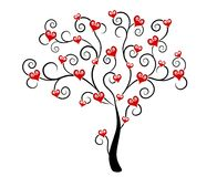 Corazones del día de tarjeta del día de San Valentín en arte de clip del árbol Fotos de archivo
