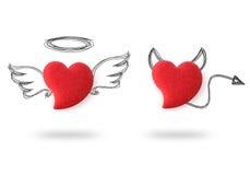 Corazones del ángel y del diablo Fotografía de archivo