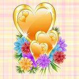 Corazones del oro con las flores Imagen de archivo libre de regalías