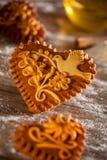 Corazones del pan de jengibre Foto de archivo libre de regalías