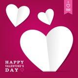 Corazones del papel del día de tarjeta del día de San Valentín Imagen de archivo