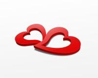 corazones del rojo 3d Imágenes de archivo libres de regalías