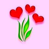 Corazones del rojo de la tarjeta del día de San Valentín Fotos de archivo