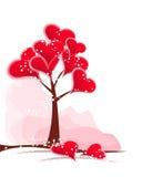 Corazones del rojo del árbol Fotografía de archivo