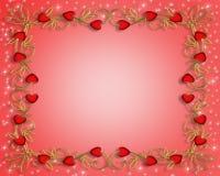 Corazones del rojo del día de tarjetas del día de San Valentín Imagenes de archivo