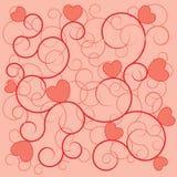 Corazones del rojo del fondo del día de tarjeta del día de San Valentín Foto de archivo libre de regalías
