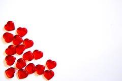 Corazones del rojo del ` s de la tarjeta del día de San Valentín Imagen de archivo