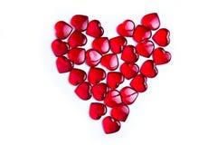 Corazones del rojo del ` s de la tarjeta del día de San Valentín Fotos de archivo