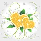 Corazones del vector del limón con remolino Fotografía de archivo libre de regalías