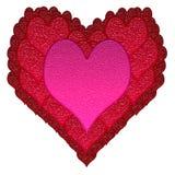 Corazones del vidrio de las tarjetas del día de San Valentín Fotografía de archivo libre de regalías