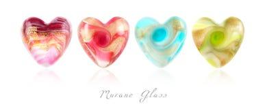 Corazones del vidrio de Murano Fotografía de archivo