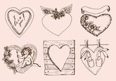 Corazones del vintage para el día de tarjetas del día de San Valentín Imagen de archivo libre de regalías