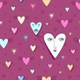 Corazones divertidos de la historieta con los ojos - modelo inconsútil del vector en colores rosados ilustración del vector
