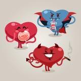 Corazones divertidos de las tarjetas del día de San Valentín con el demonio Fotos de archivo libres de regalías