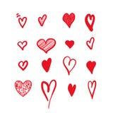 Corazones drenados mano Elementos del diseño para el día del ` s de la tarjeta del día de San Valentín Fotografía de archivo libre de regalías