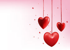 Corazones dulces rojos del globo del día de tarjetas del día de San Valentín stock de ilustración