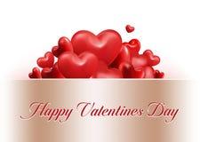 Corazones dulces rojos del globo del día de tarjetas del día de San Valentín ilustración del vector