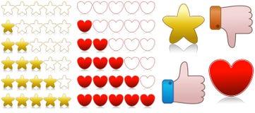 Corazones e iconos del grado de calidad de las estrellas Imagen de archivo libre de regalías