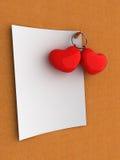 Corazones en blanco de la tarjeta del día de San Valentín de la nota Imagenes de archivo