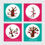 Corazones en el árbol Tarjeta de las tarjetas del día de San Valentín Fotos de archivo libres de regalías