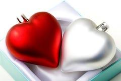 Corazones en tarjeta del día de San Valentín emocional del símbolo del amor del rectángulo de regalo Foto de archivo libre de regalías