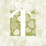 Corazones en tarjeta retra elegante de la caja de regalo. EPS 8 Imagen de archivo