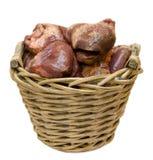 Corazones en una cesta Imagen de archivo libre de regalías