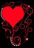 Corazones espirales rojos en negro Fotografía de archivo libre de regalías