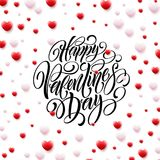 Corazones felices de Valentine Day Calligraphy Background With 3D Ilustración del vector Fotos de archivo