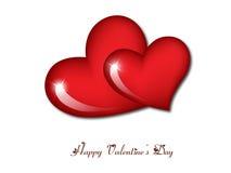 Corazones felices del día de tarjeta del día de San Valentín Foto de archivo